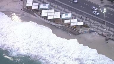 Trecho da ciclovia Tim Maia é interditado por causa de ressaca - Alerta de ressaca da Marinha vai até segunda-feira de manhã,