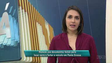 Homem usa documentos falsos para alugar e furtar carro em Ponta Grossa - Suspeito utilizou documentos de outra pessoa e um cartão falso para poder alugar o veículo