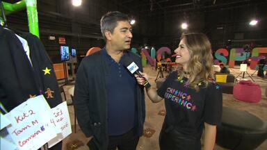 Daiane Fardin entrevista Zeca Camargo, nos bastidores do Criança Esperança - Programa deste sábado (19) foi apresentado ao vivo do Rio de Janeiro