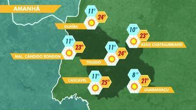 Massa de ar frio começa a perder força - Terça-feira começa com temperaturas mais altas no oeste do estado.