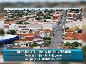 Confira as atrações da agenda cultural para este domingo - Em Tupi Paulista, tem show gratuito na Avenida Nove de Julho.