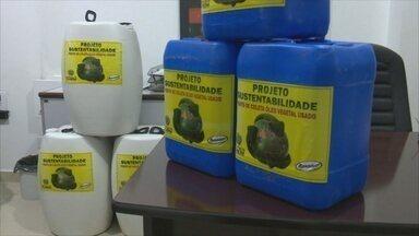 Projeto ambiental recolhe óleo usado e troca por sabão em Vilhena - Reportagem mostra como a iniciativa funciona.