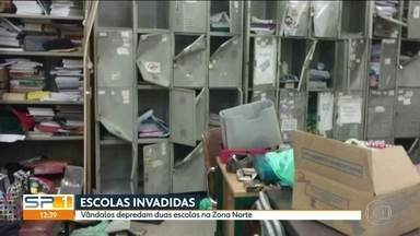 Vandalismo faz alunos de escola estadual da Zona Norte voltarem mais cedo para casa - A escola foi arrombada no fim de semana e os vândalos quebraram a caixa d'água.