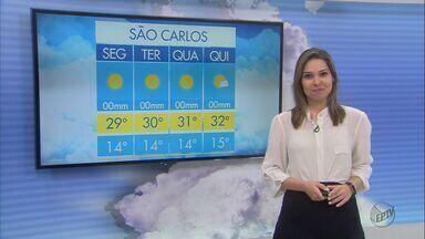 Confira a previsão do tempo para esta segunda-feira (4) na região de São Carlos - Confira a previsão do tempo para esta segunda-feira (4) na região de São Carlos.