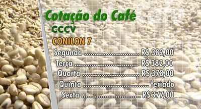 Confira a cotação do café no Espírito Santo - No centro de comércio de café de Vitória o Conilon tipo 7 abriu a semana em R$ 382 e fechou em R$ 377.