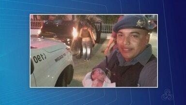 'Muito emocionante', diz policial que ajudou mulher a dar à luz dentro de carro - Nascimento da menina Vitória aconteceu em veículo na Zona Oeste de Manaus.