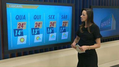 Previsão de sol para esta quarta-feira no oeste do estado - Ar mais frio vindo do sul deixa as temperaturas mais baixas.