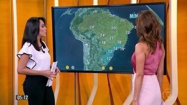 Previsão alerta para risco de temporais no ES, em parte de MG e em áreas do NE - Confira a previsão completa do tempo em todo o Brasil.
