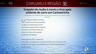 Suspeito de roubo é morto a tiros após acidente de carro em Cachoeirinha - Trio trocou tiros com os policiais e sofreu acidente; um dos suspeitos morreu, enquanto os outros dois fugiram.