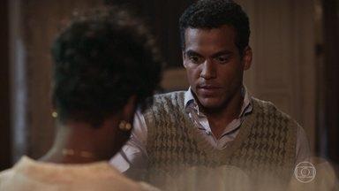 Edgar pede ajuda a Nicota para enviar um bilhete a Olímpia - Januária escuta e impede que a mensagem chegue ao seu destino