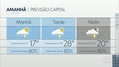 Confira a previsão do tempo para a quinta-feira (9) em São Paulo - O dia começa com 17 graus e pancada, que pode ser forte em um ponto ou outro da cidade. O sol pode aparecer, mas à tarde e a noite ainda tem previsão de pancada. Máxima de 28 graus.