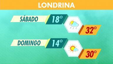 Fim de semana ainda pode ter chuva isolada em Londrina - A possibilidade de tempo instável é para o sábado, já no domingo a previsão é de sol.