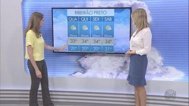 Confira a previsão do tempo para esta terça-feira (14) na região de Ribeirão Preto - Calor aumenta e umidade do ar volta a cair.