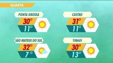 Quarta-feira será de sol e temperaturas altas na região - Em Ponta Grossa, a máxima chega aos 30 graus.