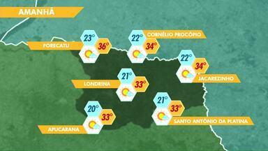 A quinta-feira será ensolarada em Londrina - A partir de sexta tem previsão de mudança no tempo.
