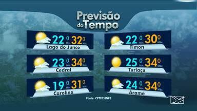Veja as variações das temperaturas no Maranhão - Previsão de sol entre nuvens em quase todo o estado do Maranhão.