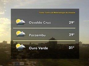 Meteorologia prevê pancadas de chuva para esta terça-feira - Confira como ficam as temperaturas na região.