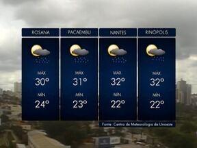 Confira a previsão do tempo para esta terça-feira na região de Presidente Prudente - Veja como ficam as temperaturas no Oeste Paulista.