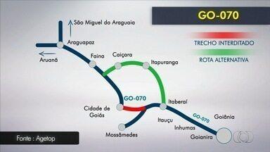 GO-070 tem trecho interditado devido a obras, em Goiás - Bloqueio será entre o trevo de acesso a Jussara e a entrada para o Centro da cidade de Goiás.