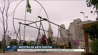 Cinco projetos interativos estão em exposição em mostra de arte digital em Pinheiros - Quem passa pelo Largo da Batata, em pleno caos da Avenida Faria Lima, pode tirar uns minutinhos para relaxar. Cinco projetos estão em exposição em uma mostra de arte digital - e tudo é bem interativo.