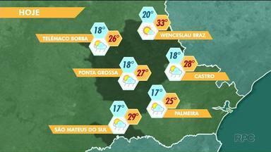 Sexta-feira pode ter pancadas de chuva nos Campos Gerais - Em Ponta Grossa, as temperaturas variam entre 18 e 27 graus.