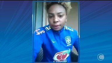 Atacante da Seleção sub-20, Valéria fala de emoção ao marcar gol nos EUA - Atacante da Seleção sub-20, Valéria fala de emoção ao marcar gol nos EUA
