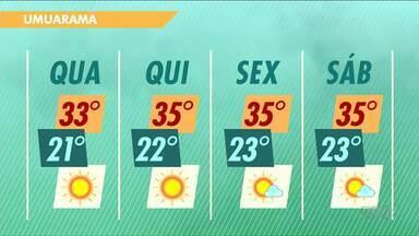 Quarta-feira será mais um dia de sol e calor no Noroeste - Chega a fazer 33 graus em Goioerê, Altônia e Umuarama.
