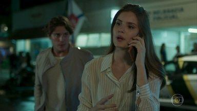 Lourenço e Luíza chegam à delegacia - Douglas estranha quando Luíza liga para perguntar sobre Eric, mas não consegue avisá-la do jantar com Maria Pia e Malagueta