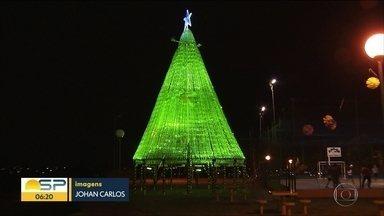 Moradores de Guarulhos fazem árvore de garrafas pet e decoração - Decoração de Natal atrai visitantes.