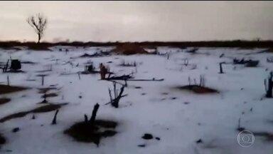 Ceará tem chuva de granizo - Verão começou nesta quinta-feira (21) com granizo no nordeste.