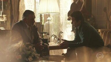 Conselheiro sugere que Vicente peça Maria Vitória em casamento - Vicente fala com o tio sobre episódio envolvendo Teodoro