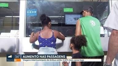 Viagens nos ônibus intermunicipais de São Paulo estão mais caras - Nesta terça (2), quem foi viajar de ônibus, voltando para casa depois do réveillon, já teve que gastar mais. As viagens intermunicipais estão 3,32% mais caras. As passagens dos ônibus na capital, trem e metrô também vão subir no domingo (7).