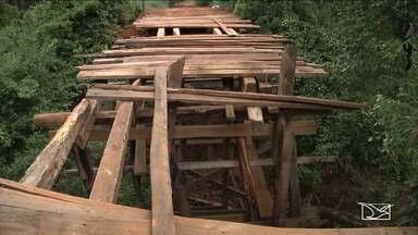 Comunidade em Timbiras pode ficar isolada por conta de ponte - Prefeitura até improvisou um desvio, mas a situação pode piorar com as chuvas.