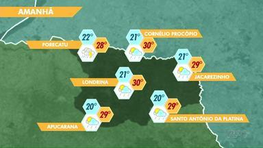 Previsão de chuva para o fim de semana em Londrina - O tempo segue instável.