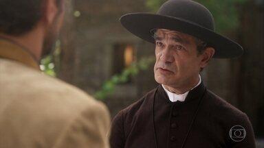 Padre Lúcio conta para Inácio que Henriqueta se mudou para Morros Verdes - Inácio conta para o padre que se casou no Brasil