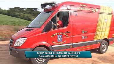 Jovem de 25 anos morre afogado na cachoeira da Mariquinha, em Ponta Grossa - A cachoeira fica em uma propriedade rural particular. No momento do acidente, nenhum guarda-vidas fazia a segurança dos banhistas.