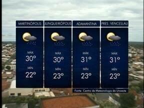 Meteorologia prevê chuva intensa na região de Presidente Prudente - Confira como ficam as temperaturas nesta segunda-feira (15).