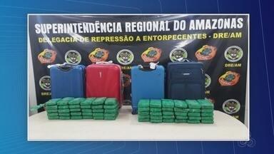 Dupla é presa ao tentar embarcar com 70 kg de drogas no aeroporto de Manaus - Cocaína estava escondida em quatro malas. Suspeitos fariam voo para Belém, no Pará.