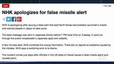 Emissora estatal do Japão emite falso alerta sobre míssil da Coreia do Norte - Cinco minutos depois, a emissora corrigiu o erro e pediu desculpas. Foi o segundo caso semelhante: um alarme falso provocou pânico no estado americano do Havaí.