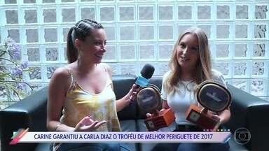 Carla Diaz ganha dois prêmios do 'Vídeo Show' - Atriz venceu na categoria maior barraco e também como melhor periguete de 2017