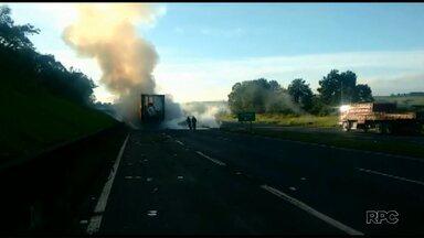 Caminhão pega fogo na BR-376 - A pista ficou interditada até que o fogo fosse controlado
