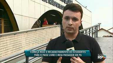 Estudantes já podem fazer o recadastramento para o passe livre e meia passagem - O recadastramento é para os alunos que tem o direito em Ponta Grossa.