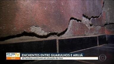 40 famílias estão em situação de risco no bairro Cidade Aracília - O bairro fica no limite entre Guarulhos e Arujá. Eles sofrem há mais de 20 anos com enchentes. O governo do estado fez um acordo com as duas prefeituras para retirar as famílias dessa região. Mas só Arujá cumpriu com o combinado.