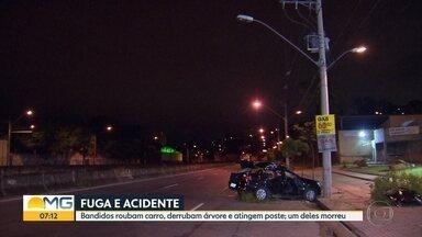 Suspeitos de roubo se envolvem em acidente e um morre em Belo Horizonte - Segundo a PM, veículo invadiu a calçada, derrubou uma árvore e bateu em um poste.