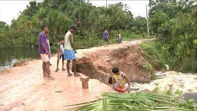 Chuvas no Vale do Pindaré provocam prejuízos aos moradores - Na zona rural de Bela Vista a cheia de um igarapé danificou o aterro de uma estrada vicinal importante para a região.