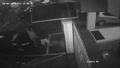 Grávida é assaltada em Taguatinga - Uma mulher grávida de sete meses foi assaltada na porta de casa, na Praça do Bicalho, em Taguatinga, na noite de terça (20). O prédio fica a poucos metros de um posto policial. Câmeras de segurança registraram o momento da abordagem.