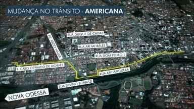 Mudanças no trânsito de Americana afetam motoristas e passageiros de ônibus - Sete linhas intermunicipais e dezesssete municipais terão seu itinerário alterado a partir das 14h. A Prefeitura de Americana diz que as mudanças vão agilizar o trânsito da cidade. Semáforos serão instalados.