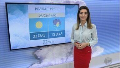 Veja a previsão do tempo para esta quinta-feira (1º) na região de Ribeirão Preto - A chuva deve continuar nos próximos dias. São esperados mais de 90 milímetros na primeira quinzena do mês.