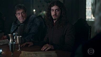 Rodolfo expõe seu plano para o novo arqueduto de Montemor - Os demais reis da Cália ouvem os argumentos de Rodolfo para inundar a aldeia dos Eranitas