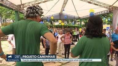 Praça Floriano Peixoto, em BH, recebe o Projeto Caminhar - Quem passou por lá participou de palestras e de várias atividades voltadas para uma vida mais saudável.